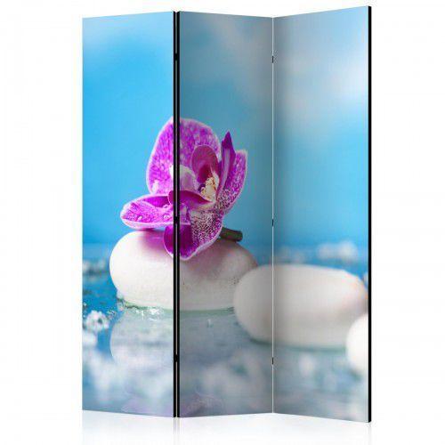 Parawan 3-częściowy - Różowa orchidea i kamienie Zen [Room Dividers]