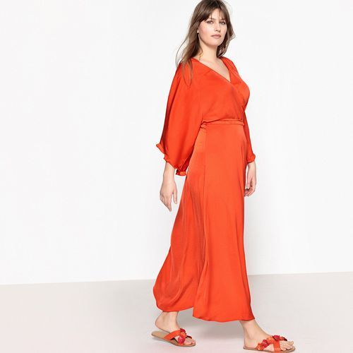 Sukienka kopertówka długa rozkloszowana, krótki rękaw, rozkloszowana