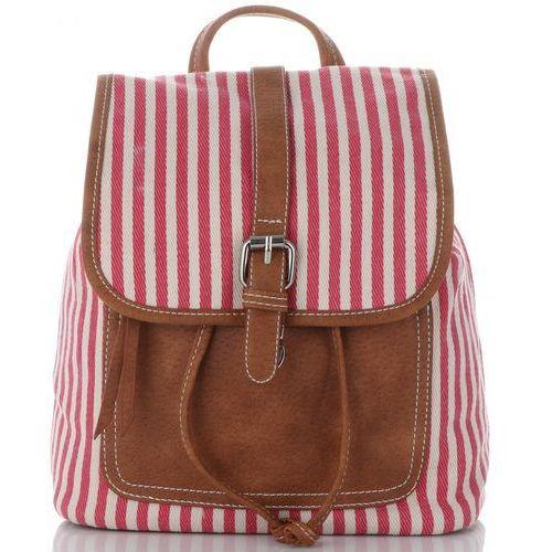 34c01cece2f56 David jones Modne plecaczki damskie w paski marki różowe (kolory) 99