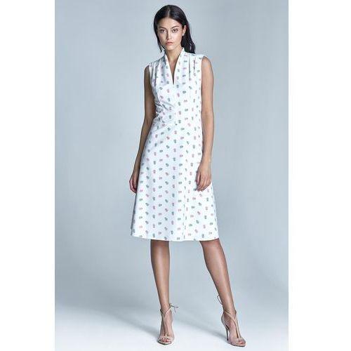 "Ecru elegancka sukienka midi z dekoltem ""v"" marki Nife"