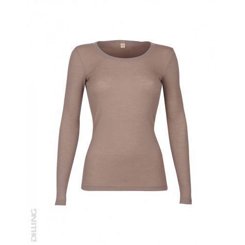 Koszulka damska z wełny merynosów (100%) - długie rękawy - prążkowany splot - beżowy róż - dilling, Dilling (dania)