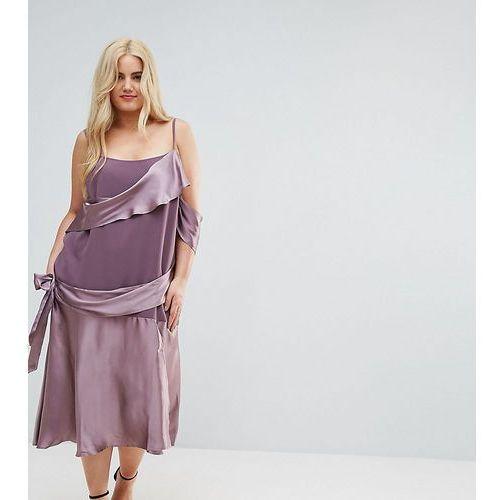 colourblock satin midi dress with tie detail - purple marki Asos curve