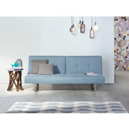Beliani Sofa z funkcją spania niebieska - kanapa rozkładana - wersalka - dublin