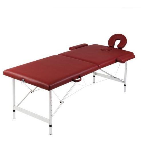 vidaXL Czerwony składany stół do masażu 2 strefy z aluminiową ramą - produkt z kategorii- Akcesoria do rehabilitacji