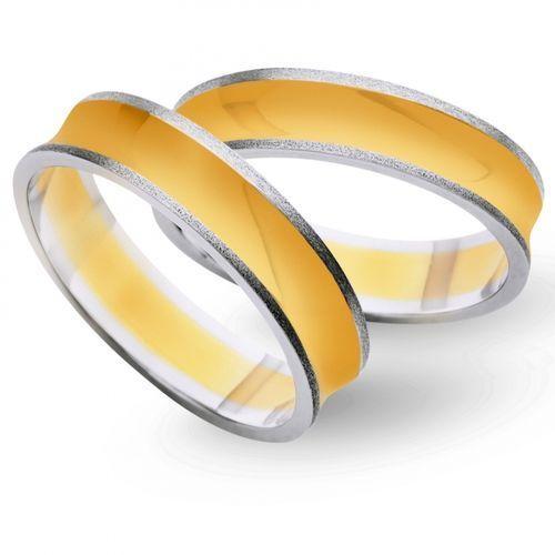 Obrączki z żółtego i białego złota 5mm - O2K/026 - produkt dostępny w Świat Złota
