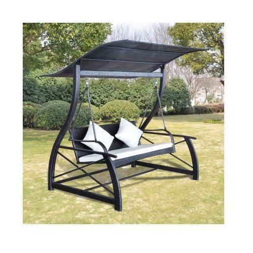 Huśtawka ogrodowa z dwoma miejscami i zadaszeniem w czarnym kolorze - produkt dostępny w VidaXL