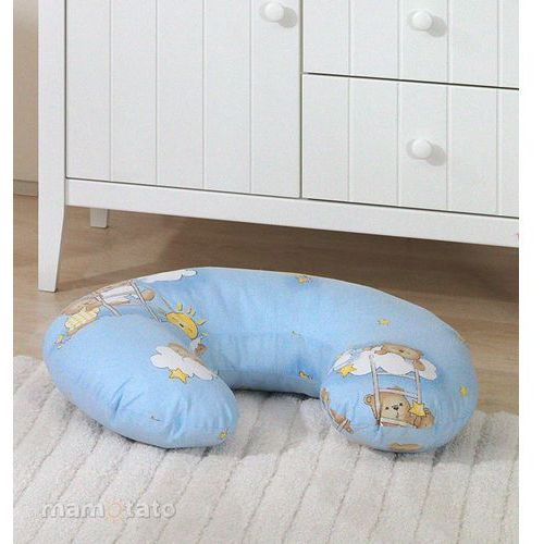 """Mamo-tato poszewka na poduszkę do karmienia """"rogal"""" drabinki z misiami na błękitnym tle"""
