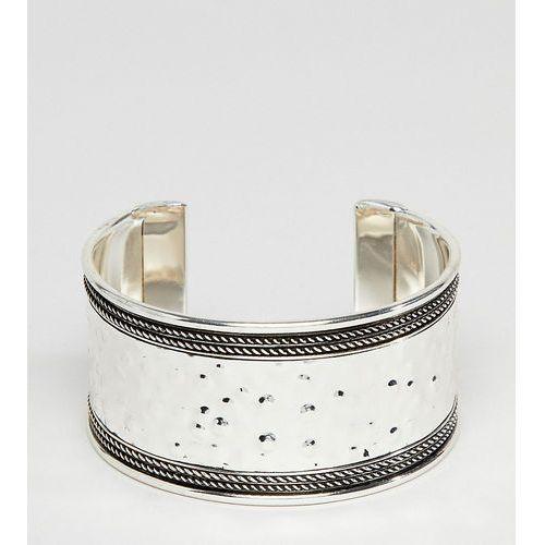 Asos design curve exclusive hammered and engraved cuff bracelet - silver marki Asos curve