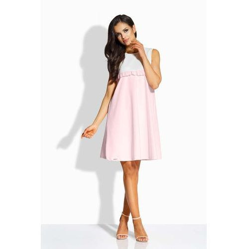 Lemoniade Ecru różowa sukienka luźna bez rękawów z falbanką