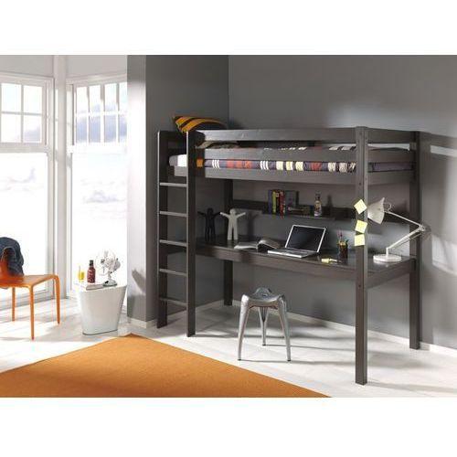 Łóżko piętrowe dla dzieci z biurkiem Pino - sosna ciemnoszara - oferta [05c4d847f38fd4ac]
