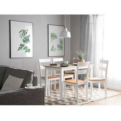 Stół do jadalni drewniany biało-brązowy 114 x 68 cm GEORGIA (4260586355345)