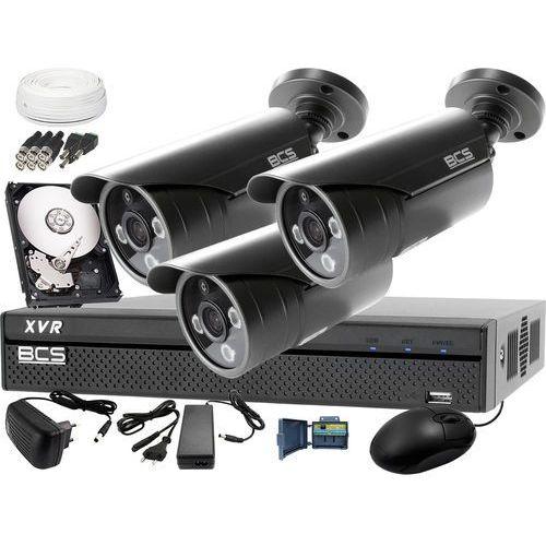 Zestaw do monitoringu z podglądem nocnym: rejestrator -xvr0401 + 3x bcs-tqe3500ir3-g + dysk 1tb + akcesoria marki Bcs