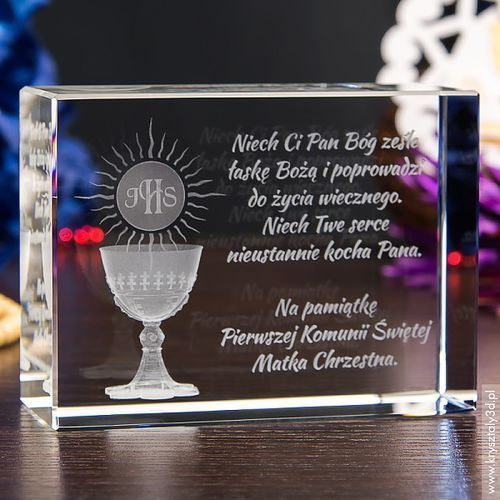 Pamiątka I Komunii Świętej »hostia i kielich« duży prosty kryształ 3D