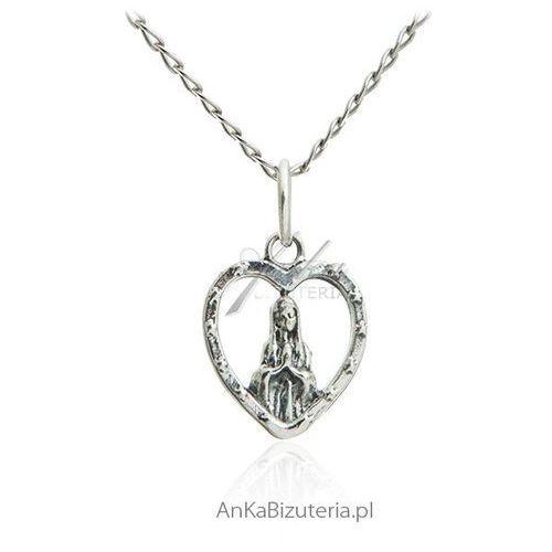Matka boska fatimska w serduszku - medalik srebrny marki Anka biżuteria