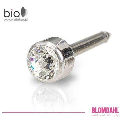 Blomdahl Kolczyk do przekłuwania uszu - bezel crystal 4 mm w kolorze srebra