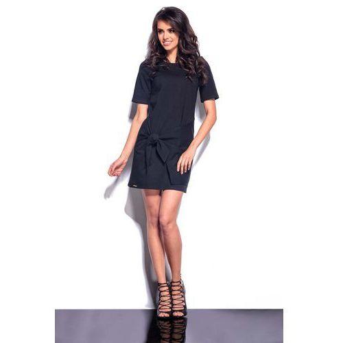 Czarna Mini Sukienka z Wiązaną Nakładką, w 2 rozmiarach
