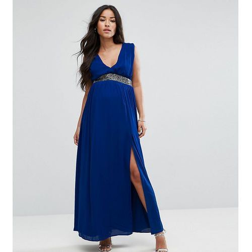 embellished waist strap back maxi dress - blue marki Asos maternity