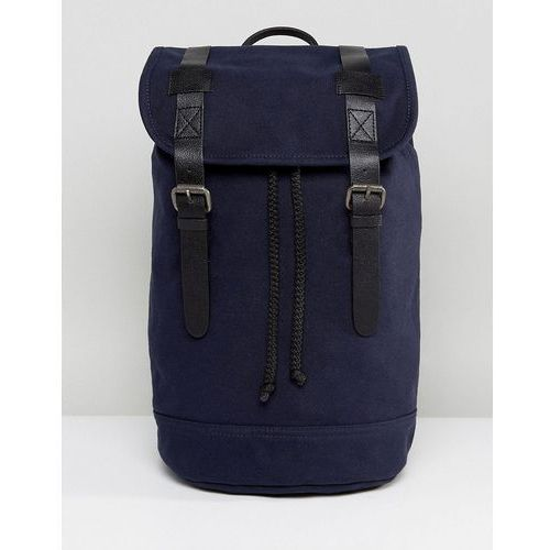 design backpack in organic cotton in navy with real leather trims - navy marki Asos