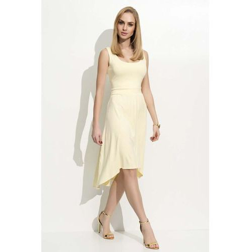 Żółta Sukienka Asymetryczna na Szerokich Ramiączkach, asymetryczna