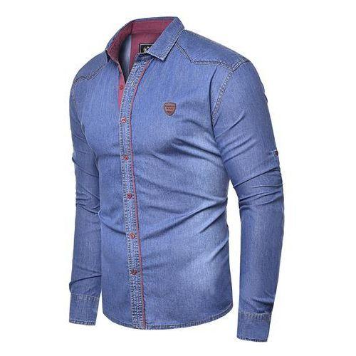 Koszula męska jeansowa długi rękaw rl15 - granatowa, Risardi, M-XXXL
