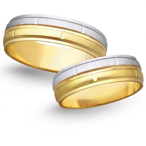 Obrączki ślubne z żółtego i białego złota 6mm - O2K/019