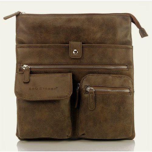 5a03a237c81d9 Brązowo-beżowa raportówka listonoszka w stylu vintage - brązowy