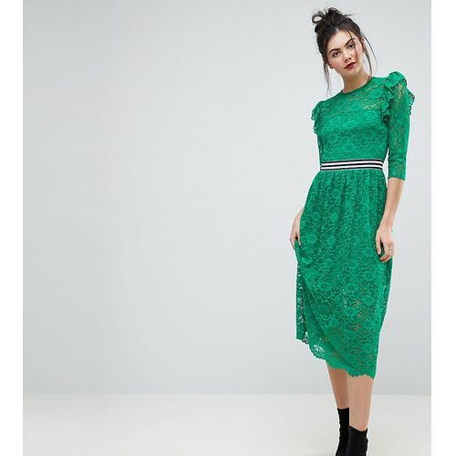 midi lace tea dress with sports tipping - green, Asos tall