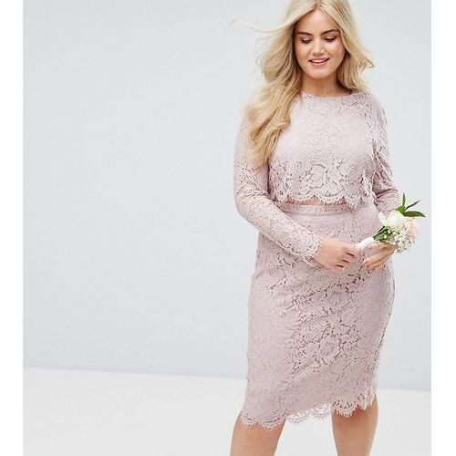 ASOS DESIGN Curve lace long sleeve midi pencil dress - Pink
