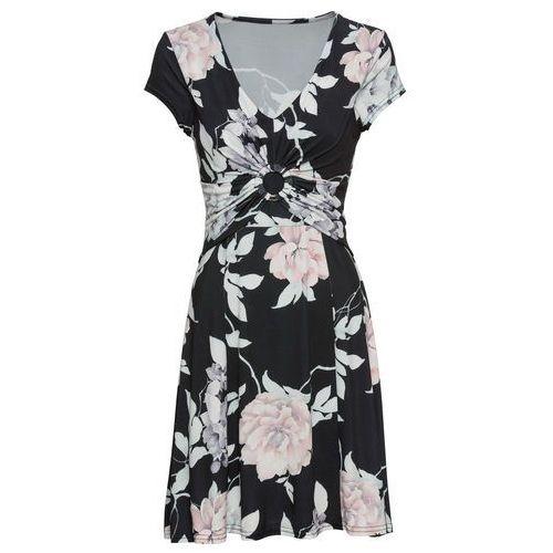 Sukienka z dżerseju z nadrukiem czarny w kwiaty marki Bonprix