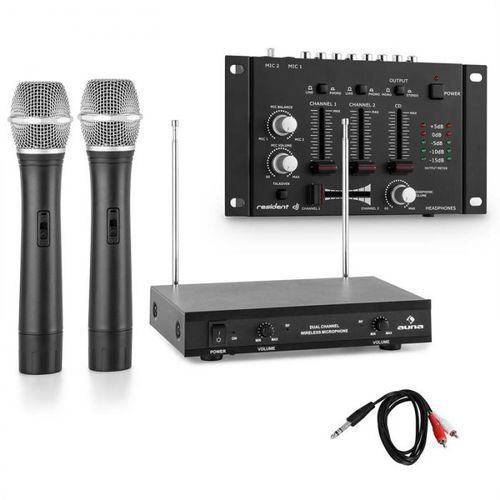 Zestaw mikrofonów bezprzewodowych z 3-kanałowym mikserem czarny
