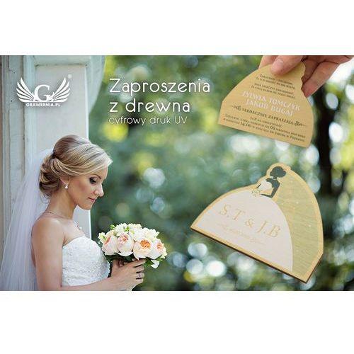 Zaproszenia ślubne z drewna - cyfrowy druk uv - zap006 marki Grawernia.pl - grawerowanie i wycinanie laserem