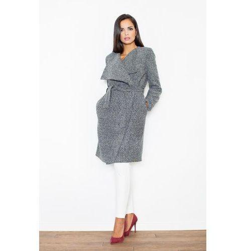 Szary elegancki płaszcz oversize przewiązany paskiem, Figl, 36-42