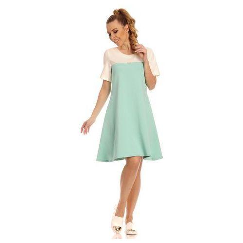 Ecru - Miętowa Dwukolorowa Trapezowa Sukienka, kolor zielony