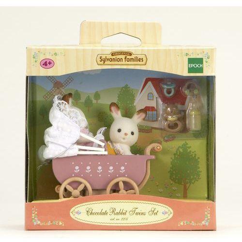 Sylvanian Families, wózek dziecięcy, bliźniaki królików z czekoladowymi uszkami, zestaw z figurkami (domek dla lalek) od Smyk