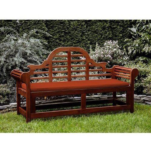 Beliani Ławka ogrodowa drewniana 180 cm poducha ceglasta toscana marlboro