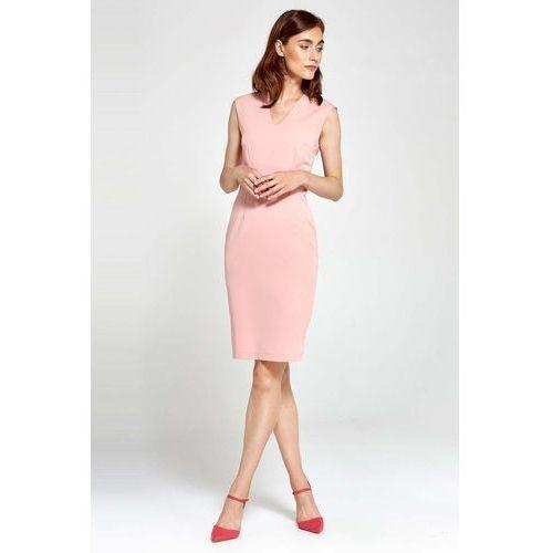Różowa Sukienka Ołówkowa bez Rękawów z Dekoltem V, kolor różowy