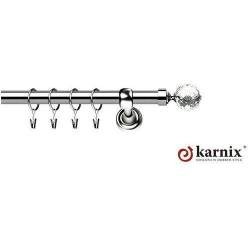 Karnix Karnisz metalowy rzymski pojedynczy 25mm beluna crystal inox