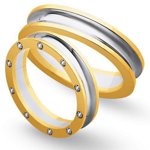 Obrączki z żółtego i białego złota 5mm - O2K/109 - produkt dostępny w Świat Złota