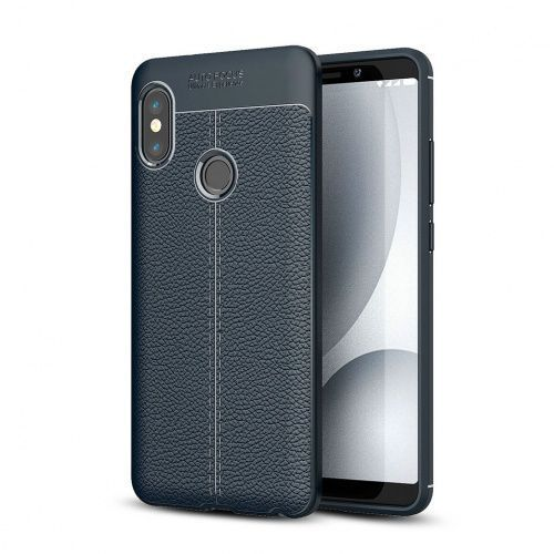 Ipaky Etui leather case xiaomi redmi note 6 pro litchi navy blue