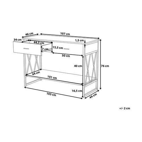 Beliani Konsola dąb sonoma 2 szuflady ayden (7105279880865)