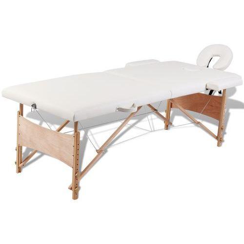 kremowy składany stół do masażu 2 strefy z drewnianą ramą, marki Vidaxl