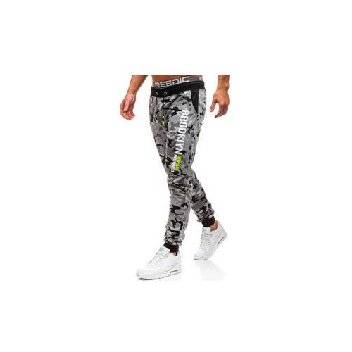 Spodnie męskie dresowe joggery moro-szare denley kk513, J.style