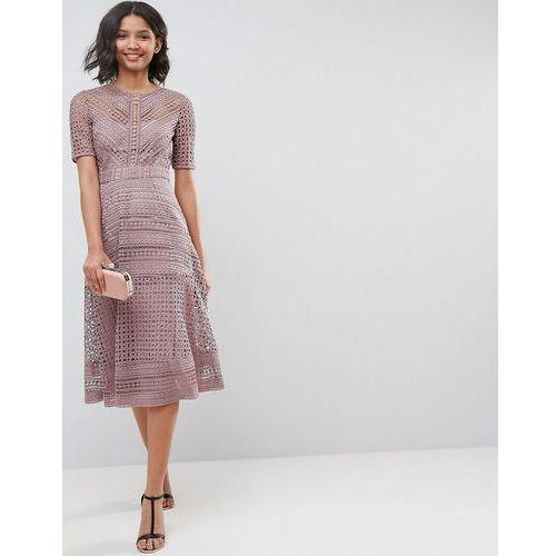 premium occasion lace midi dress - navy marki Asos