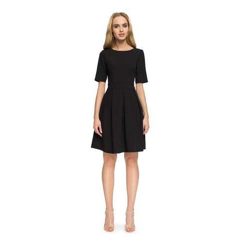 efb112534b Czarna wizytowa sukienka z dołem w kontrafałdy