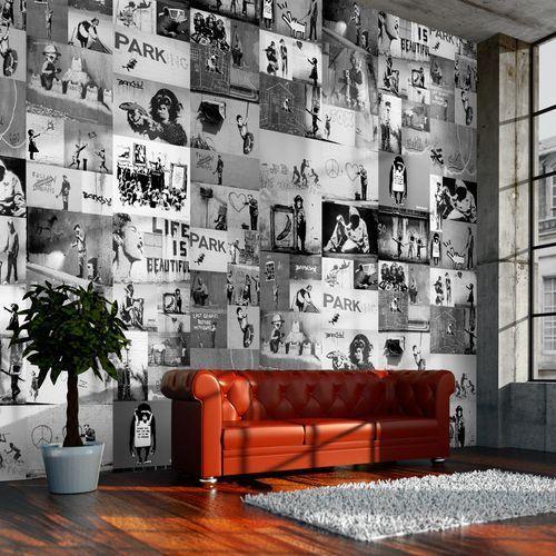 Artgeist Fototapeta - banksy - szary kolaż