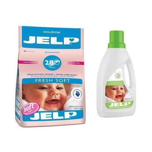 JELP Hipoalergiczny proszek Fresh Soft biel 2,24 kg + Płyn do płukania Mild 1l (proszek do prania ubrań)