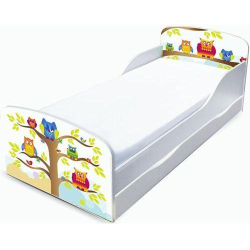 Białe łóżko dziecięce z szufladą - drewniane, Sowy w leśnej szkółce ze sklepu ZieloneZabawki.pl