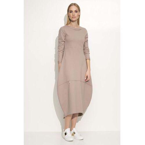 Cappuccino Sukienka Asymetryczna Bombka Midi z Długim Rękawem, w 3 rozmiarach