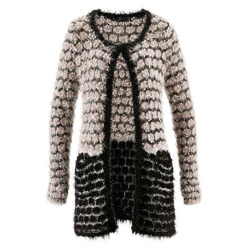 Sweter rozpinany z przędzy z długim włosem beżowoszaro-czarny marki Bonprix