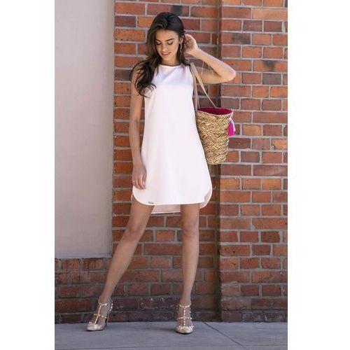 513c8280c6 Pudrowa swobodna sukienka na lato z zaokrąglonymi dołem marki Fobya 139